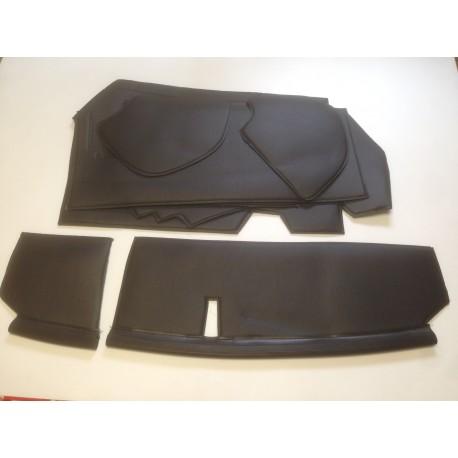 Kit de garnitures tablier NOIRES (8pcs) Skaï cousu sur mousse (Livré avec bourrelet)