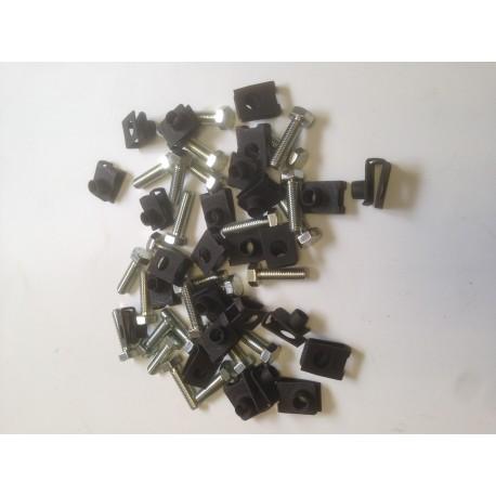 Kit de fixation de caisse 2CV, Dyane (26 agrafes Ø7mm + 26 vis Ø7mm)